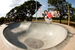 Drew Hoffman, Frontside Air, Providence East Skatepark, Brandon, Florida. Photo © No Comply Skateboard Mag