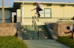 Steve O'Donnell, Kickflip Frontside Boardslide, Palm Bay, FL. Photo_Chuck Bryan