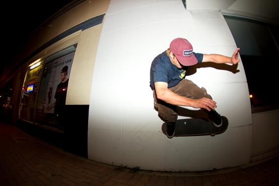 Mat Call, 2 am Wallride in front of The Shop Skateshop, Bradenton, FL.