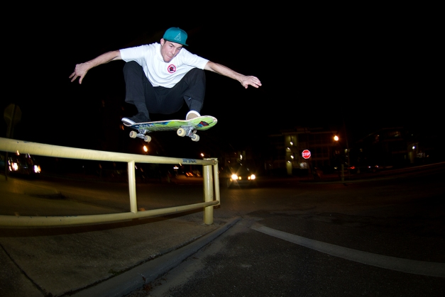 Jeff Masi Ollies a tall one in downtown St. Petersburg.